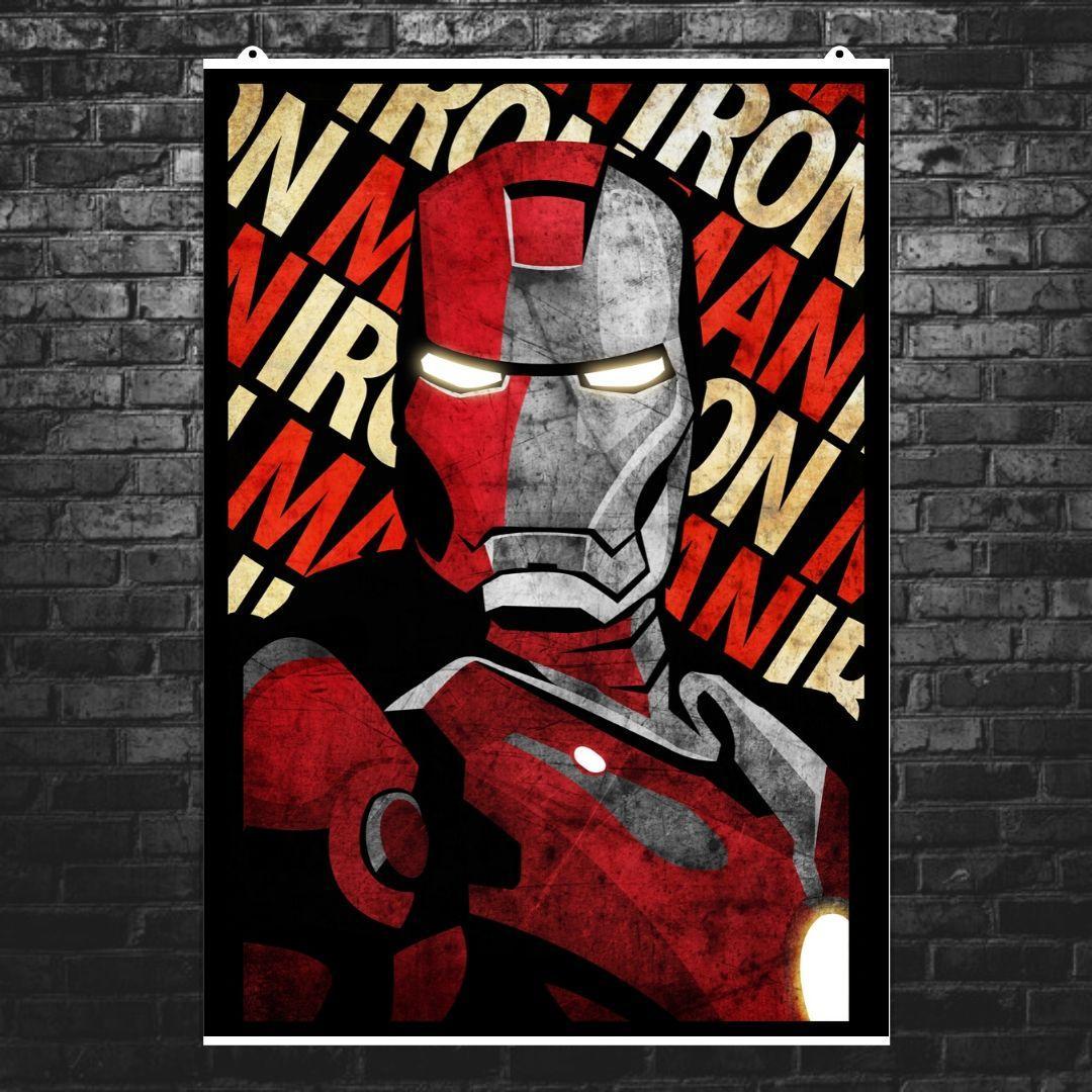 """Постер """"Iron Man, минималистичный арт"""". Железный Человек, Marvel. Размер 60x42см (A2). Глянцевая бумага"""