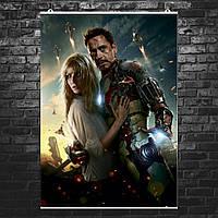 """Постер """"Тони Старк в костюме и Пеппер Поттс"""". Железный Человек, Iron Man. Размер 60x42см (A2). Глянцевая бумага"""