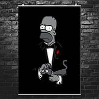 "Постер ""Крёстный отец Гомер. Godfather Gomer"". Симпсоны, God father. Размер 60x42см (A2). Глянцевая бумага"