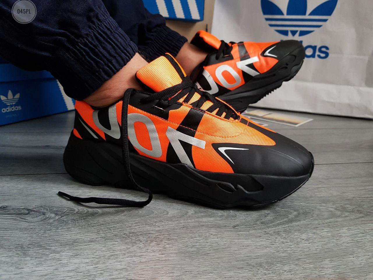 Мужские кроссовки Adidas Yeezy Boost 700 (Только 43р.) черные с оранжевым