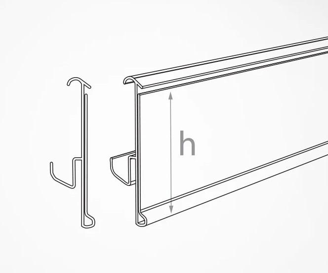 Ценникодержатели широкие серые полочные H=60 мм, L=1250 мм, TEN60