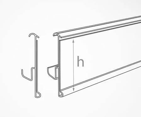 Ценникодержатели широкие серые полочные H=60 мм, L=1250 мм, TEN60, фото 2