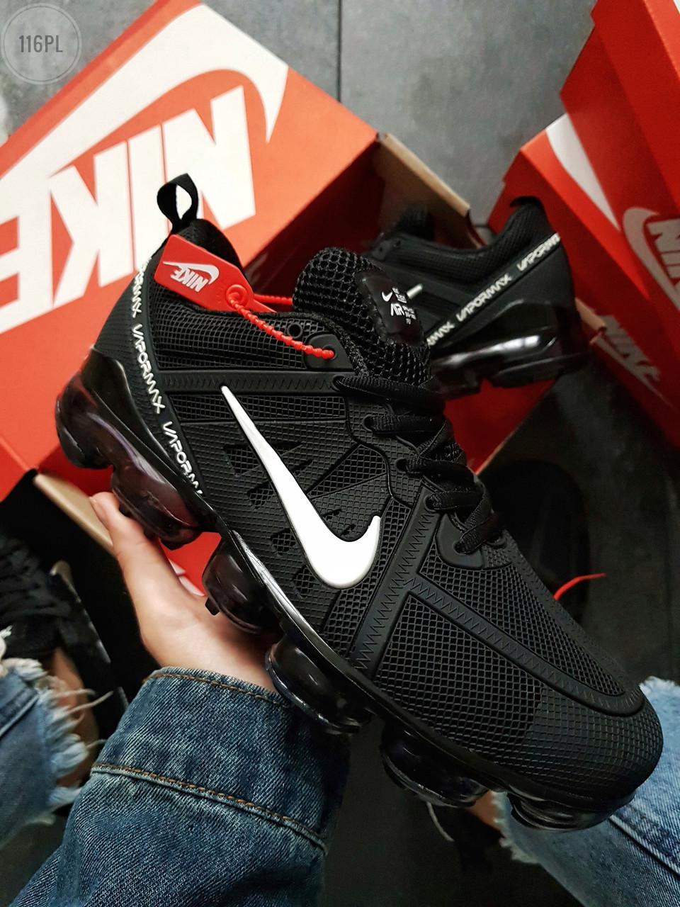 Мужские кроссовки Nike Vapormax 19 Kauchuk Black/White ( р. 43, 44) Черные