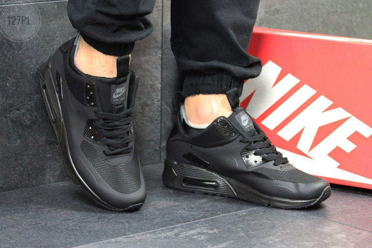 ТЕРМО! Мужские кроссовки Nike Air Max 90 Mid Winter Termo Black (р. 41,42,43,44,45) Черные