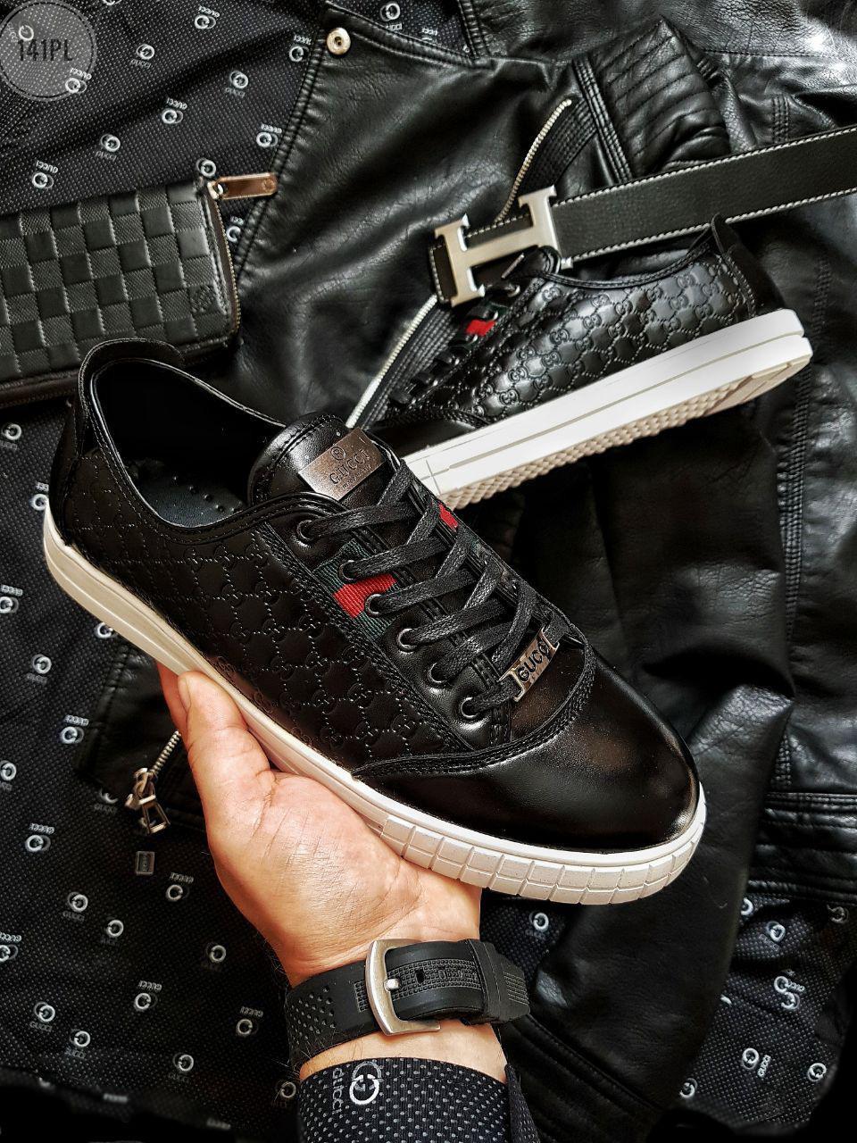 Мужская фирменная обувь Gucci (р. 39,40,41,42,43) Черные