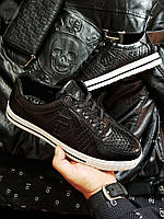 Мужская фирменная обувь Philipp Plein (р. 42 и 43) Черные, фото 1