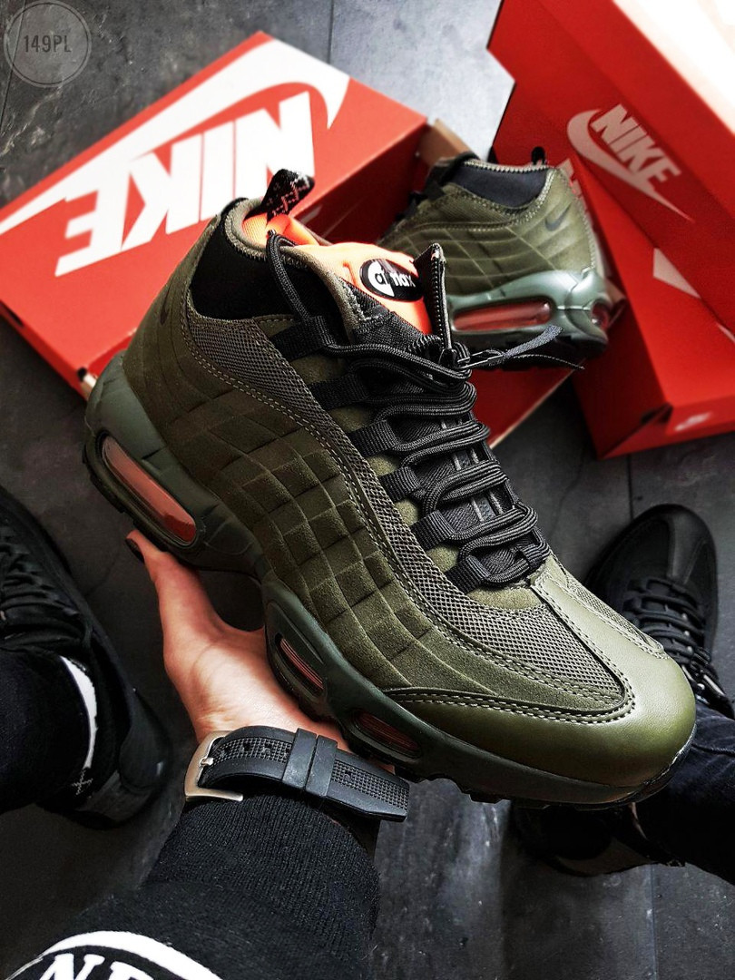 Мужские кроссовки Nike Air Max 95 Sneakerboot Green ( р. 41,42,43,44,45 ) Зеленые