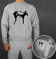 Тонкий спортивный костюм UFC серый