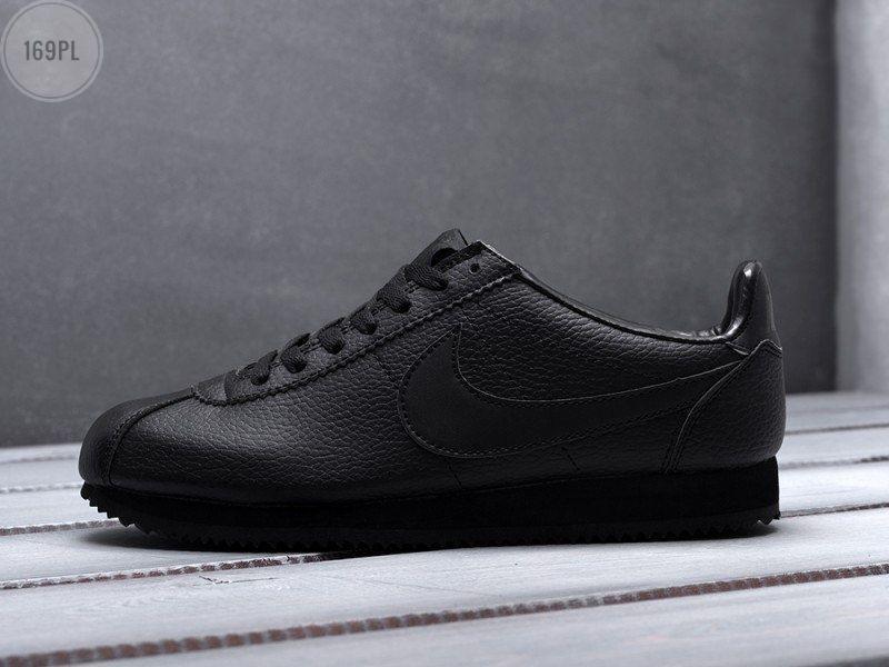 Мужские кроссовки  Nike Cortez Leather Black (р. 40,41,42,43,44,45) Черные