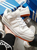 Мужские кроссовки Adidas forum mіd White (р. 41 и 43) Белые, фото 1