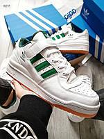 Мужские кроссовки Adidas forum mіd White Green (р. 41 и 42) Белые