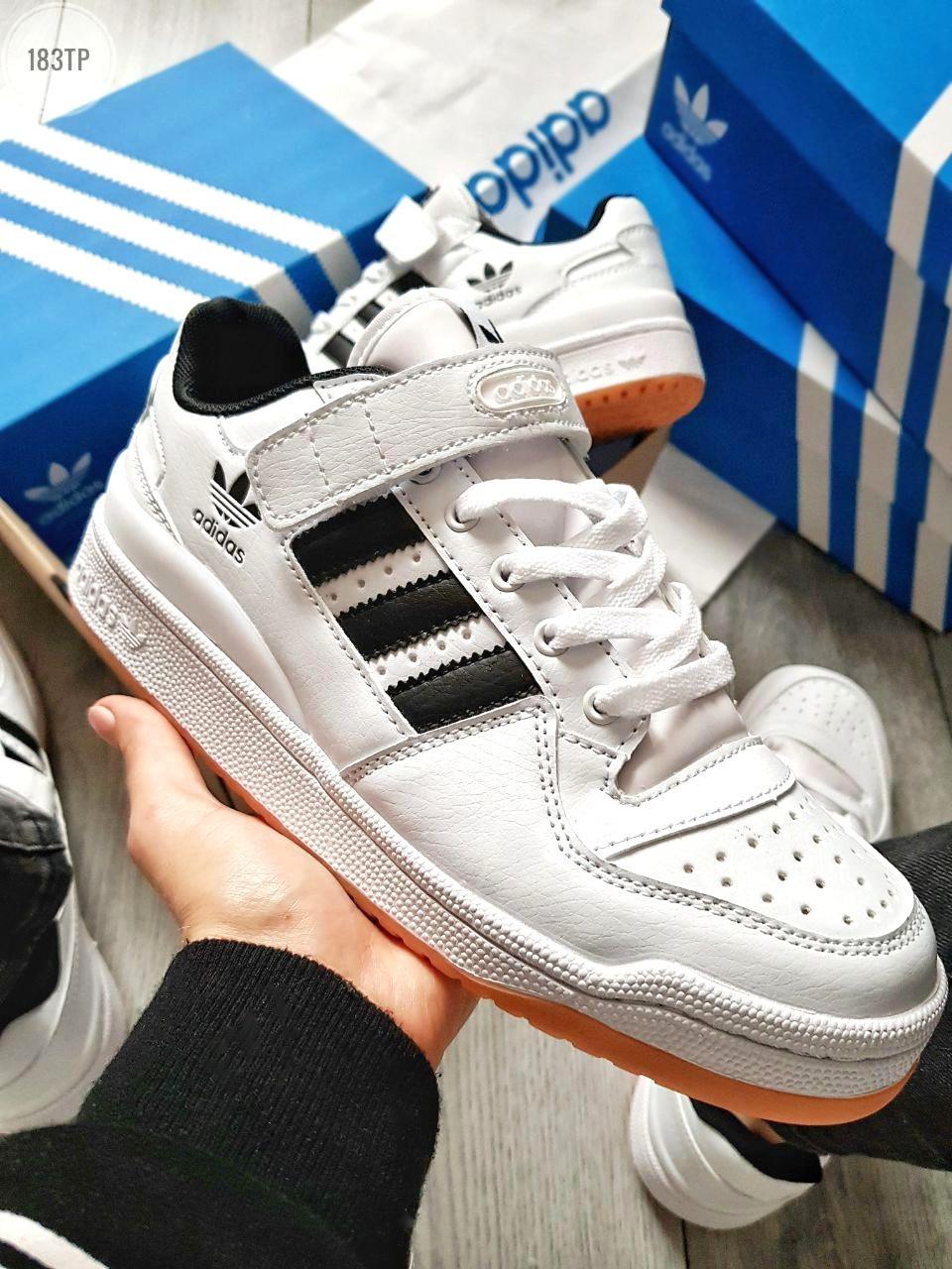 Мужские кроссовки Adidas forum mіd White Black (р. 41 и 44) Белые