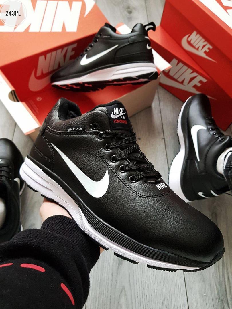 ЗИМА!!! Мужские кроссовки зимние Nike Air Lunarridge Black/White Winter (р. 41, 42, 42.5, 43) Черные