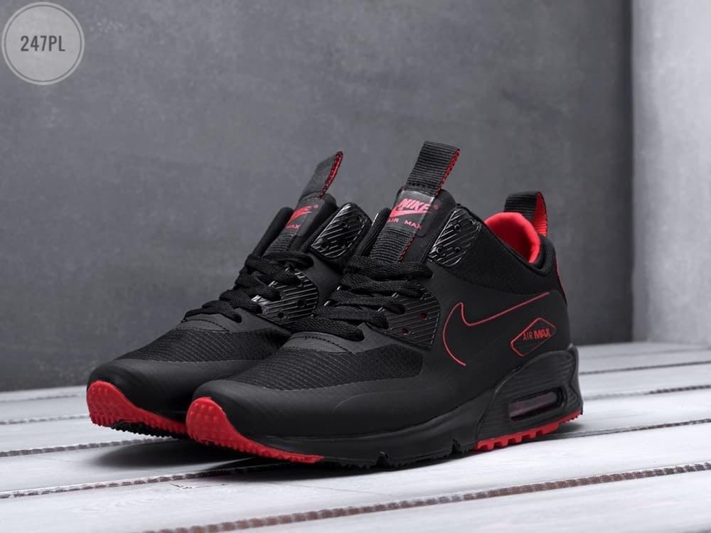 Мужские кроссовки Nike Air Max 90 Mid Winter Black/Red (р. 41 42 43 44 45) Черные
