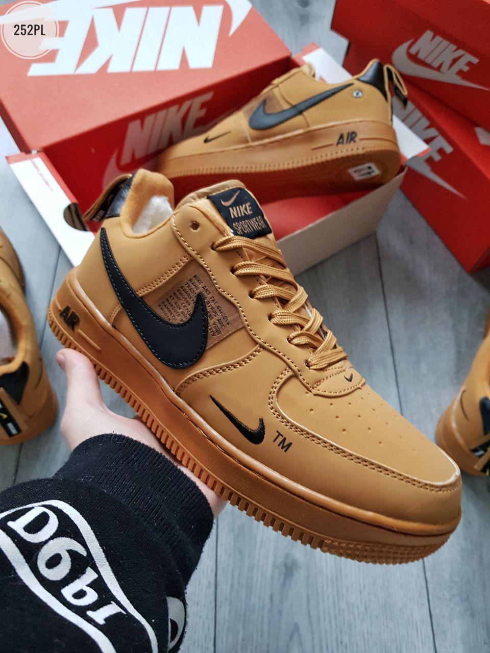 ЗИМА!!! Мужские кроссовки Nike Air Force Low Winter (р. 44) Коричневые зимние