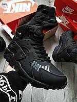 ЗИМА!!! Мужские кроссовки Nike Air Huarache BLACK Winter (р. 41 43 44 45) Черные зимние, фото 1