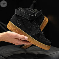ЗИМНИЕ! Мужские кроссовки Nike Air Force Black Winter (р. 41 42 43 44 45) Черные зимние, фото 1