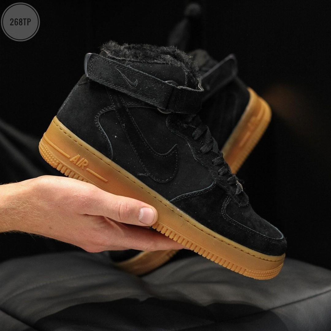 ЗИМНИЕ! Мужские кроссовки Nike Air Force Black Winter (р. 41 42 43 44 45) Черные зимние