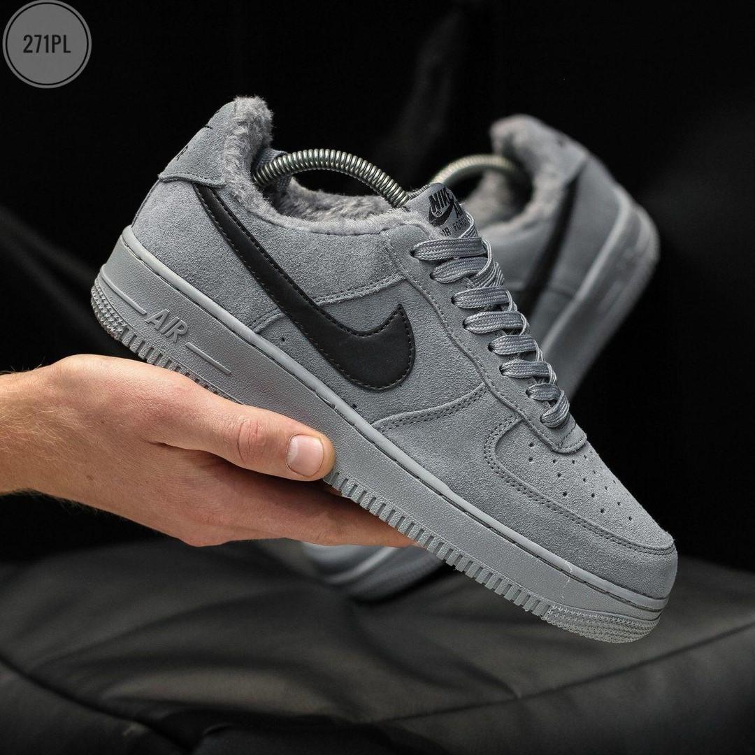 ЗИМНИЕ! Мужские кроссовки Nike Air Force Grey Winter (р. 45)