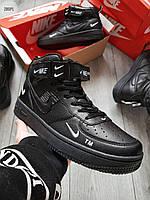 Мужские кроссовки Air Force Black (р. 39 40 41 42 43) Черные, фото 1