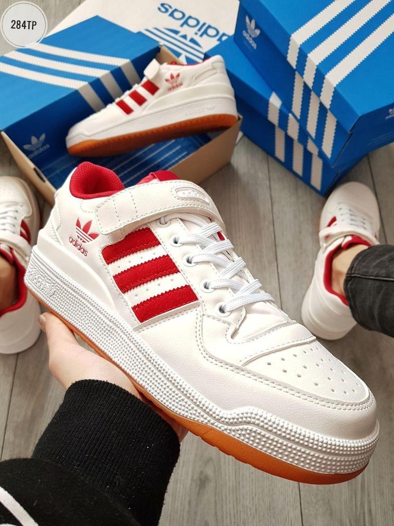 Мужские кроссовки Adidas forum Retro White/Red (р. 41 42 43 44) Белые