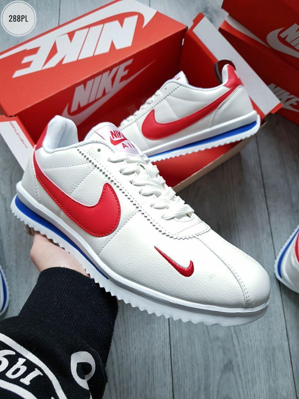Мужские кроссовки Nike Cоrtez White/Red (р. 41 42 43 44 45 46) Белые