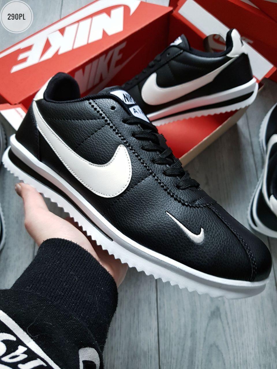 Мужские кроссовки Nike Cоrtez Balck (р. 41 42 43 44 45 46) Черные