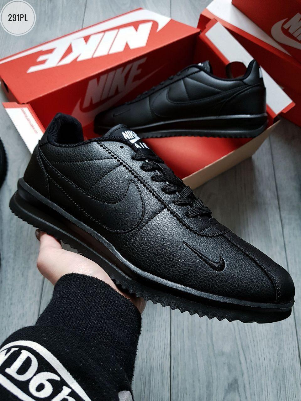 Мужские кроссовки Nike Cоrtez All Black (р. 42 43 44 45 46) Черные