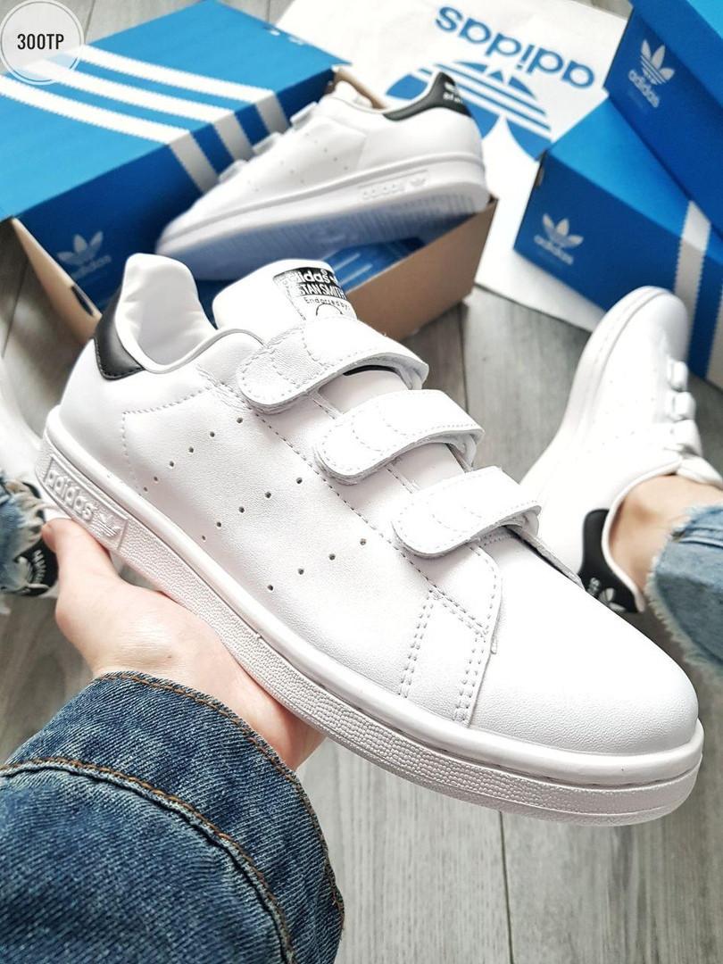 Мужские кроссовки Adidas STAN Smith CF White/Black (р. 41 42 43 44 45) Белые