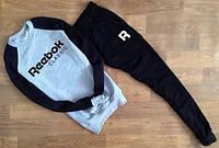 Тонкий спортивный костюм Reebok черный серо-черная толстовка