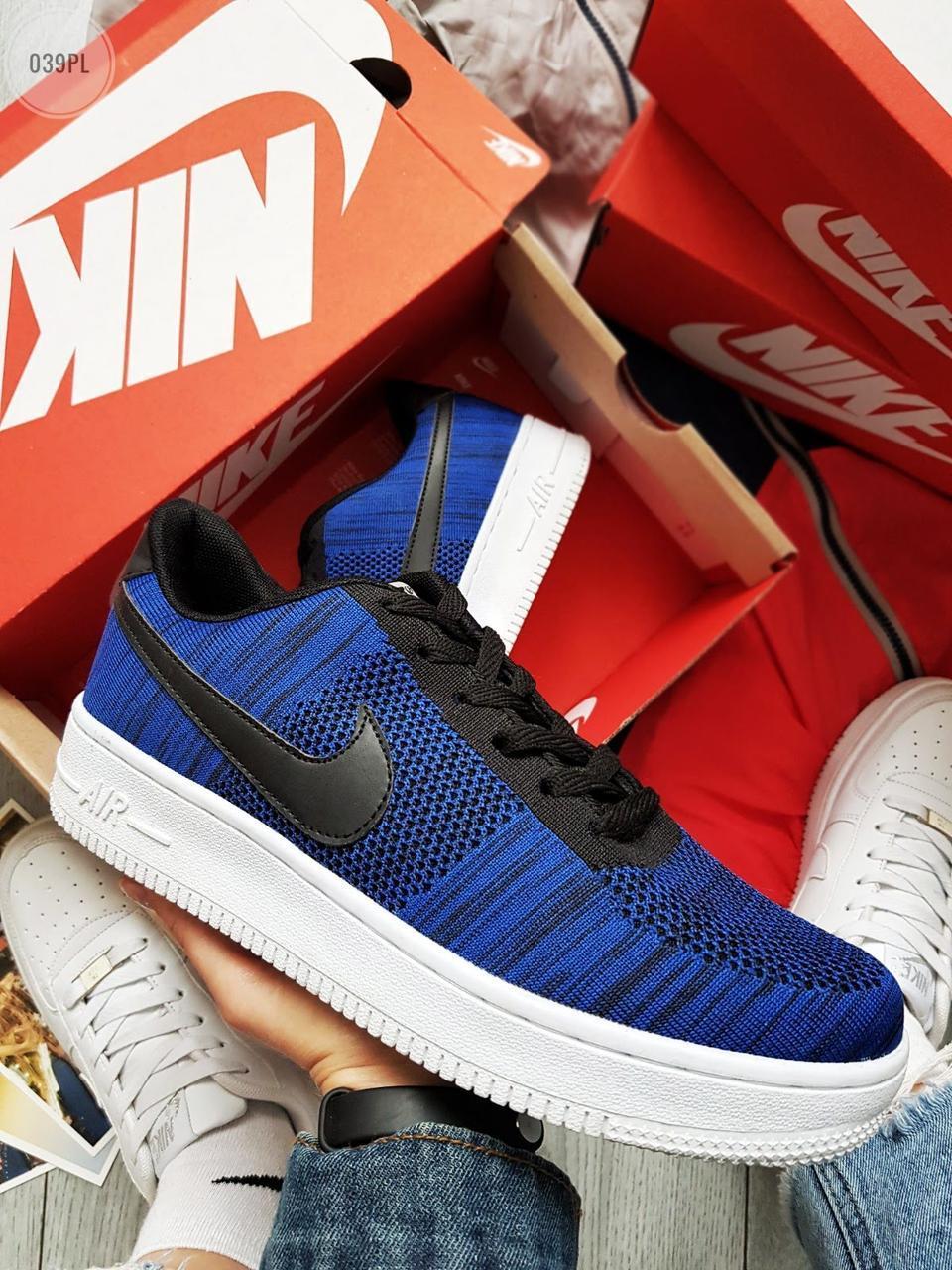 Мужские кроссовки Nike Air Force Flyknit Blue (р. 42,5 и 43) Синие