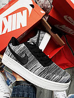 Мужские кроссовки Nike Air Force Flyknit Low Light Grey (р. 42.5 и 43) серые, фото 1