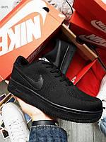 Мужские кроссовки Nike Air Force Flyknit Low Black (р. 42, 42.5, 43), фото 1
