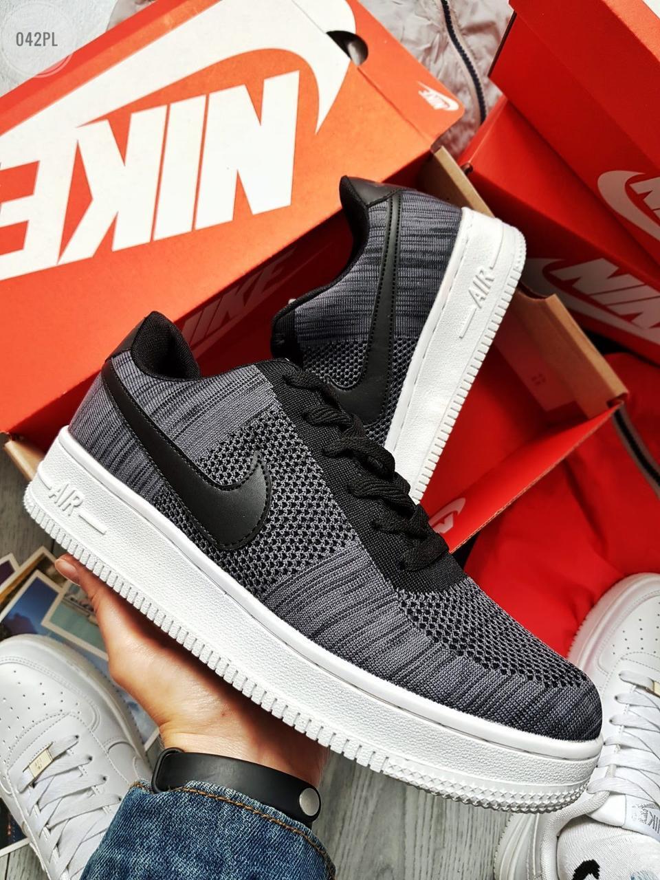 Мужские кроссовки Nike Air Force Flyknit Low Dark Grey (р. 42, 42.5, 43) Серые
