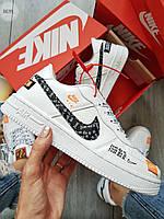Мужские кроссовки Nike Air Force Low White/Black (р. 39-40) Белые кеды, фото 1