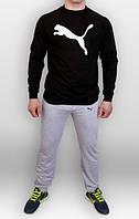Тонкий спортивный костюм Puma серый черная толстовка