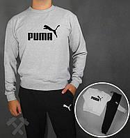 Тонкий спортивный костюм Puma черный серая толстовка
