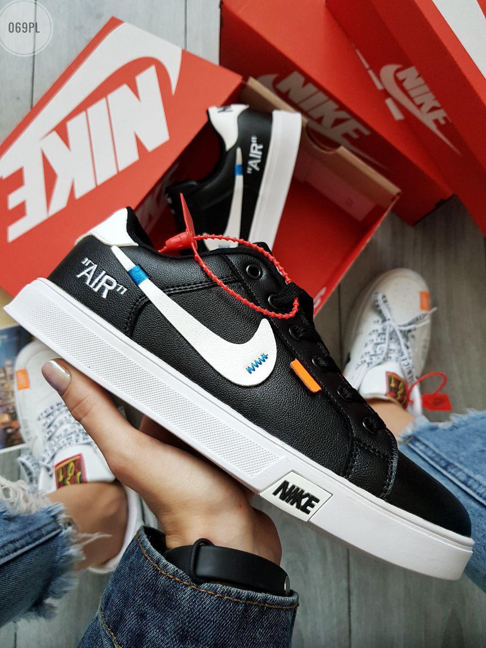 Мужские кроссовки Nike Air Force Off White Blazermid (р. 40 и 42) черные кеды