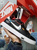 Мужские кроссовки Nike Air Force Off White Blazermid (р. 40 и 42) черные кеды, фото 1