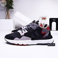 Мужские кроссовки Adidas Nite Jogger (р. 41 42 43 44) черные с серым, фото 1