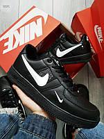 Мужские кроссовки Nike Air Force 19 Low Black (р. 42,5) Черные, фото 1