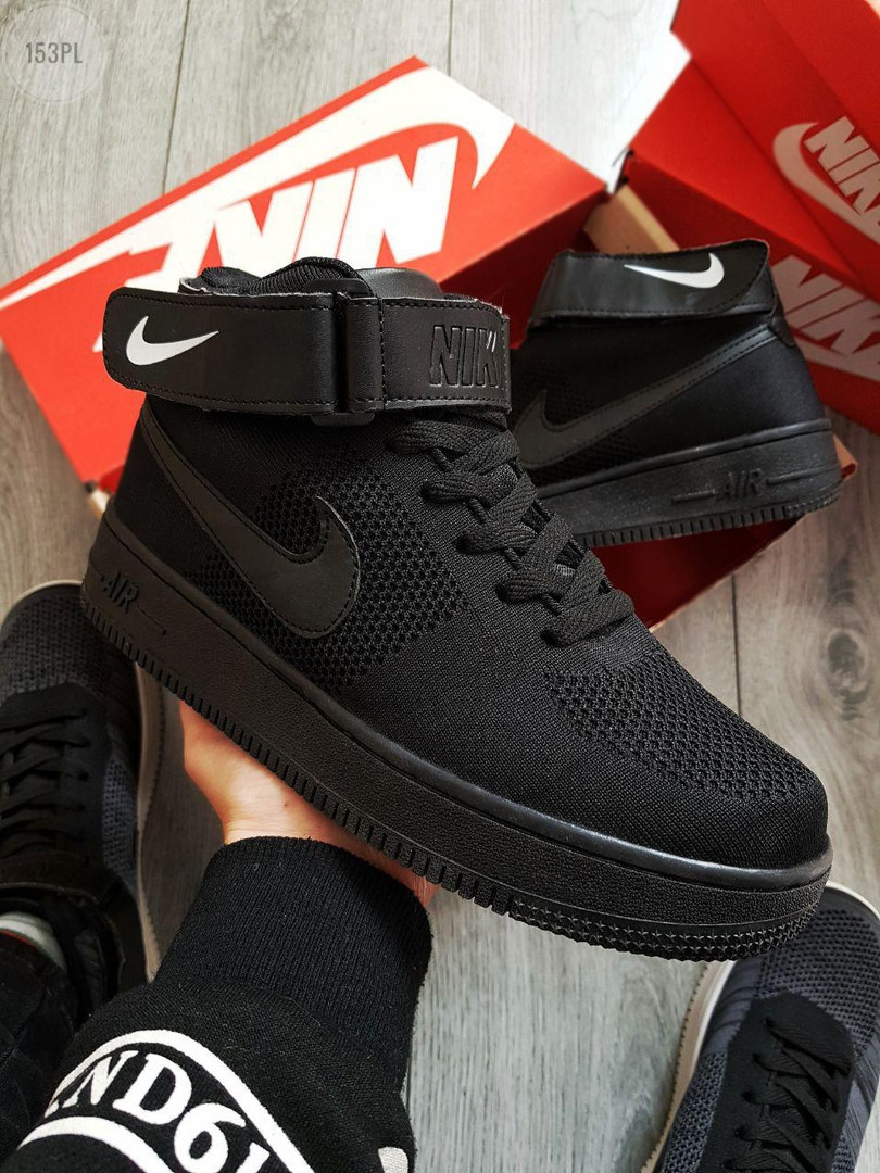 Мужские кроссовки Nike Air Force Flyknit Black (р. 42 43 44) черные