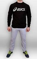 Тонкий спортивный костюм Asics серый черная толстовка