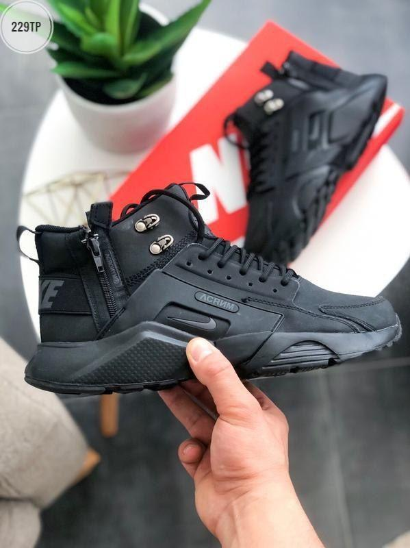 ТЕРМО! Мужские кроссовки Huarache X Acronym Black (р. 41-45) черные зимние