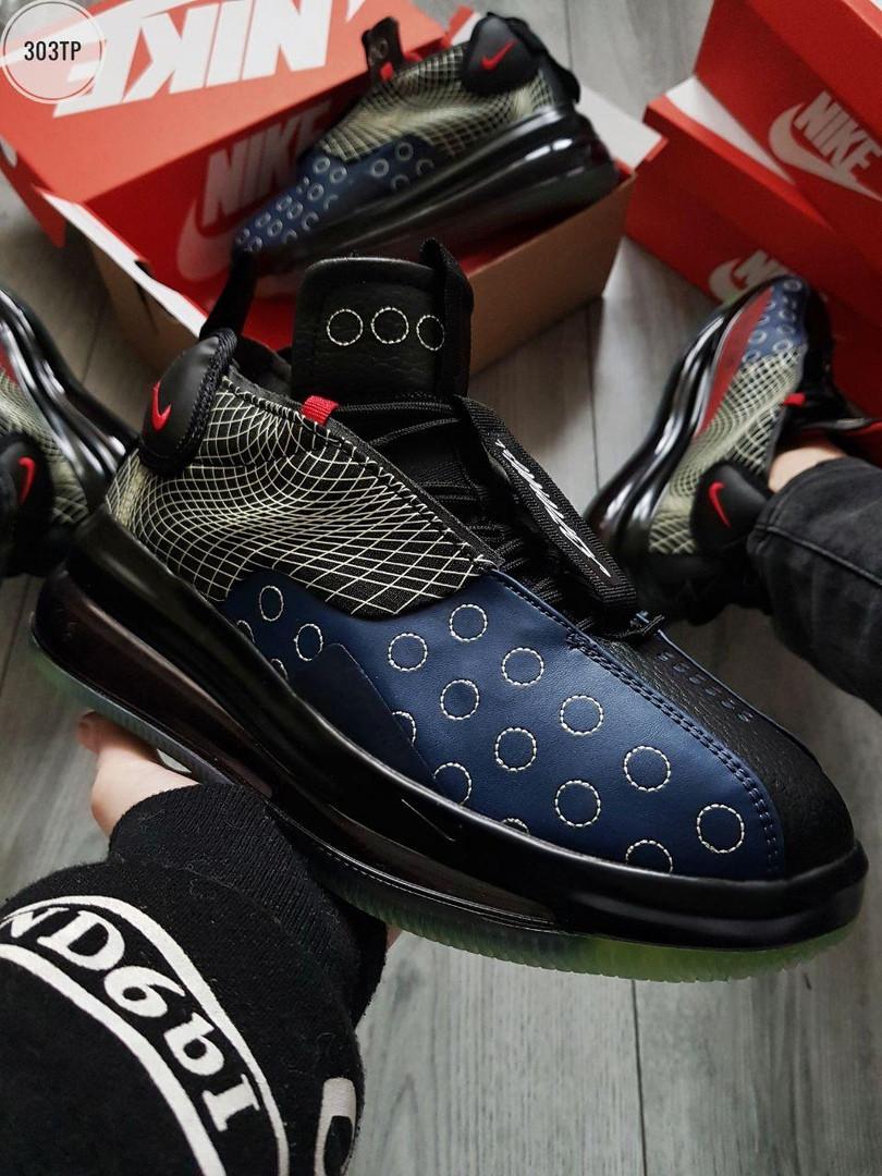 Мужские кроссовки Nike DMSX Air Max 720 Waves Black/Blue синие с черным р. 41-45