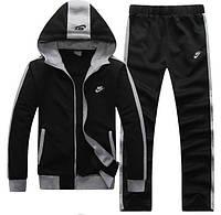 Тонкий спортивный костюм Nike черный с капюшоном, на молнии