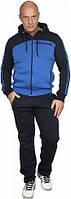 Тонкий спортивный костюм Adidas, голубое туловище, черные рукава, черные штаны, с лампасами Адидас
