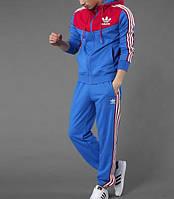 Тонкий спортивный костюм Adidas, голубая кофта с красным верхом, синие, электрик штаны, с лампасами Адидас