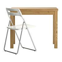 BJURSTA / NISSE Стол и 1 стул, дубовый шпон, белый
