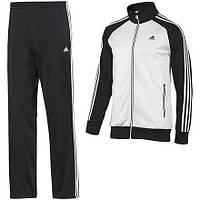 Тонкий спортивный костюм Adidas, белое туловище, черные рукава, черные штаны, с лампасами Адидас